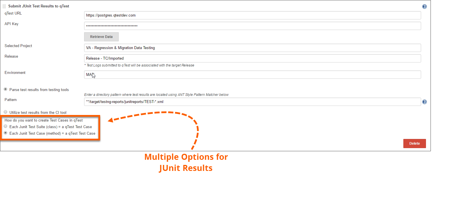 Multiple Options for JUnit Results