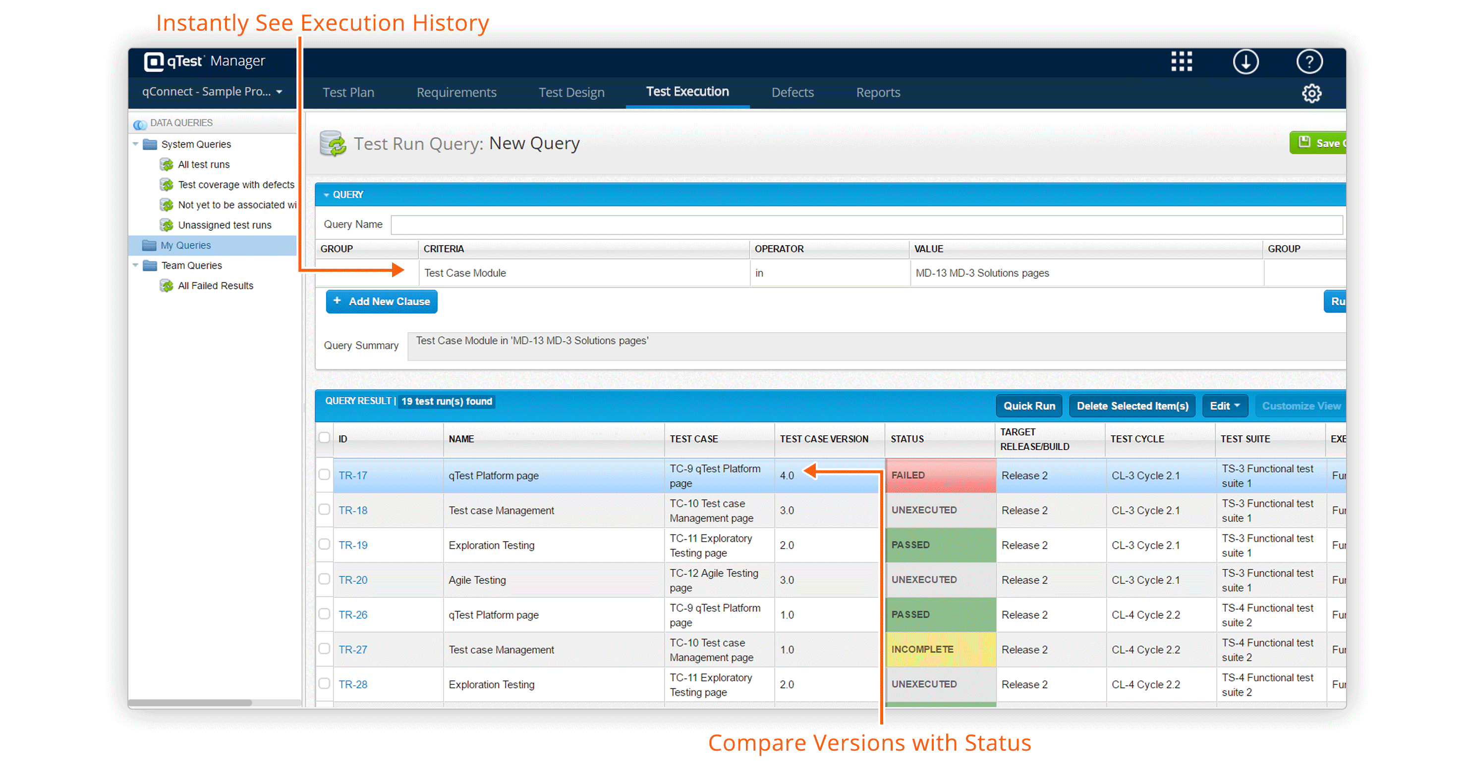 View test case execution history for each test case version in qTest Manager