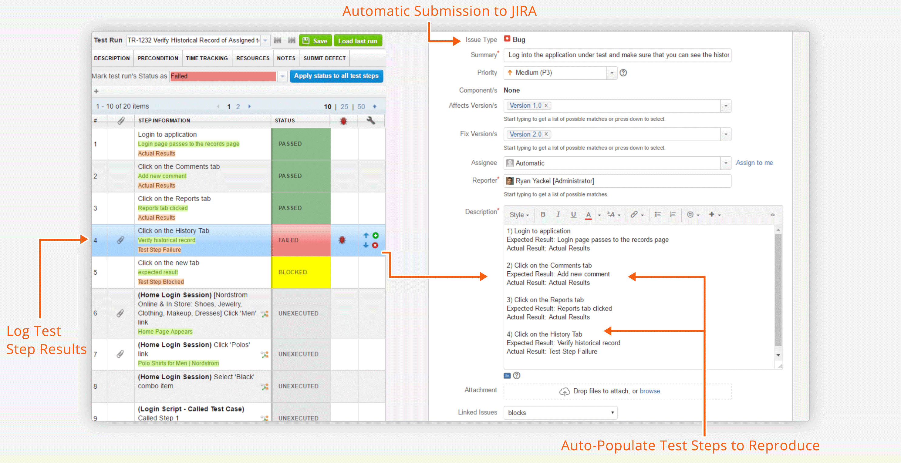 Auto-populate defect and test results into JIRA for issue tracking