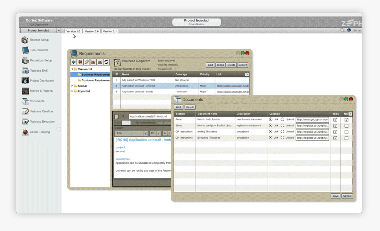 View of Zephyr Enterprise 4.7 Flash based UI